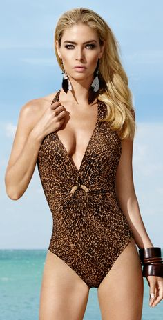 Maryan Mehlhorn 2013 Desert Island Nomad Brown One Piece Swimsuit 8932-914-410