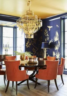Baldwin | Gray Walker Interiors #walls #wallcolor #paintcolor #coral #navy #gold #goldceiling #ceiling #homedecor #interiorstyling #interiordesign #paintcolors #fromental #silkwallpaper #custom