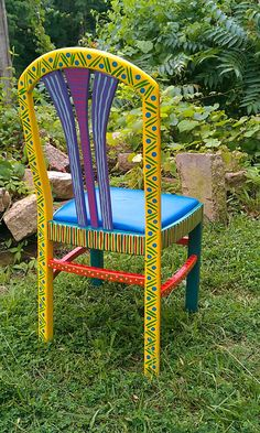 Hand Painted Furniture Chair Colorful Crazy Yellow by LisaFrick