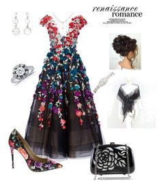 """""""Black Dahlia"""" by scope-stilettos ❤ liked on Polyvore featuring Marchesa, Nicole Miller, Chanel and Annello"""