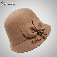 100% Australian Wool Cloche Fedora Hat For Women Cap With Flower Bowler Headwear Felt Top Hat Solid Do you want it #shop #beauty #Woman's fashion #Products #Hat