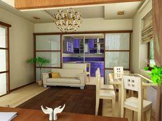 #living_room_ideas #sliding_partitions  Интерьер как он есть - Посоветуйте, как обыграть вариант с комнатой со встроенной кухней?