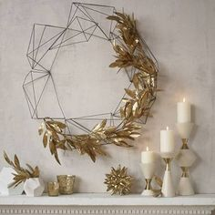 Modern Holiday Wreath | Metal Christmas Wreath | Unique Christmas Decorations