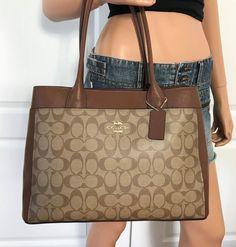 48d43a8e56 Coach Brown Tote Bag Purse Handbag Authentic New PVC Leather  Coach  Tote  Suede Handbags