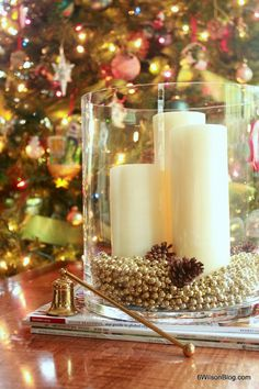 Christmas decor pillar candles in clear glass cylinder with gold bead filler 6 Wilson