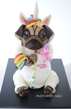 Unicorn pug rainbow cake made by Christine at Imaginarium Cakes in Wellington, New Zealand
