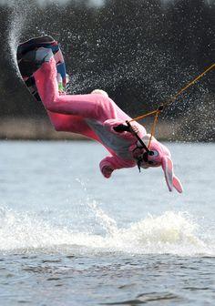 Easter Bunny doing wake board tricks