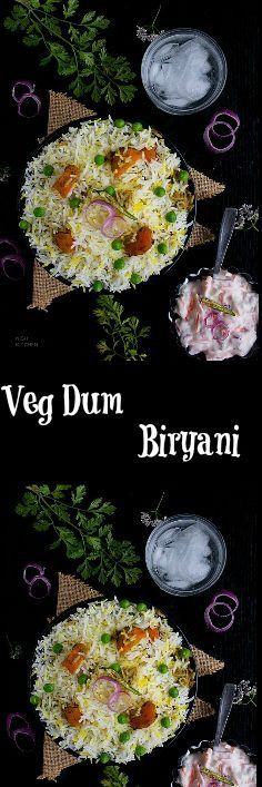 This veg dum biryani featuring alternating layers of vegetable masala and spiced rice is perfect for your next lunch or dinner. Seafood Recipes, Indian Food Recipes, Healthy Dinner Recipes, Vegetarian Recipes, Cooking Recipes, Rice Recipes, Veg Biryani Recipe Indian, Veg Dishes, Rice Dishes