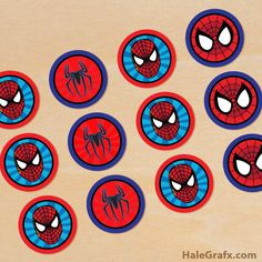 Click here to download FREE Printable Spiderman Cupcake Toppers!