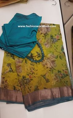 Gorgeous saree blouses design Click the link to learn more about - Saree Blouse Patterns, Saree Blouse Designs, Sari Blouse, Organza Saree, Cotton Saree, Net Saree, Chiffon Saree, Saree Floral, Floral Frocks