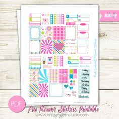 Free Printable Pink Starburst Planner Stickers from Vintage Glam Studio