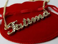 Name Necklace Fatima Gp Arabic/Islamic Personalised Pendant Jewelry Gifts Happy Birthday Greetings Friends, Fashion Necklace, Fashion Jewelry, Alphabet Images, Alphabet Design, Personalized Gold Necklace, Stylish Alphabets, Book Flowers, Name Wallpaper