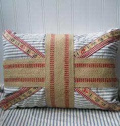Vintage ticking Union Jack pillow Upcycled by hopeandjoystudios, $29.00