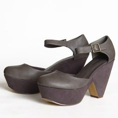 """Glison Platform In Gray 51.99 at shopruche.com. Gray platforms in faux leather and suede covering the chunky heel. Adjustable brass buckle around the ankle.  -All man-made materials -Heel height: 4.5"""" -Platform height: 1.75"""""""