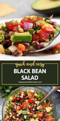 This will be your go-to recipe for all your summer BBQs, parties, potlucks, and picnics! Black Bean Salad is always a crowd-pleaser. In just minutes, you can have a great appetizer or side dish to any meal. Plus, this menu idea is vegan, vegetarian, and gluten-free! Side Salad Recipes, Green Salad Recipes, Summer Salad Recipes, Mexican Food Recipes, Vegetarian Recipes, Cooking Recipes, Healthy Recipes, Vegan Vegetarian, Free Recipes