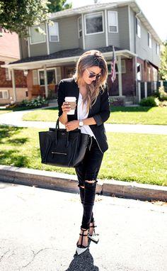 White tee, black blazer, black jeans, black heels, big hair