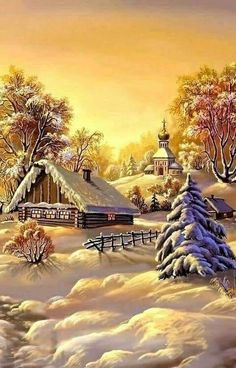 Heyadoo - A tool for everyone Christmas Scenery, Winter Scenery, Christmas Pictures, Christmas Art, Vintage Christmas, Winter Landscape, Landscape Art, Landscape Paintings, Winter Painting