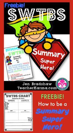 FREEBIE! How to be a Summary Super Hero! Free summary writing strategy and printables. TeacherKarma.com