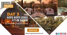 3 night's at Hoyo Hoyo.  Kruger Park Travel offers the following Facilities & Activities: Bush Walks, Morning and Afternoon Safari Drives, Bird Watching, SPA Treatments, Relaxing Lounge Area, Private Road Transfer, private drive, etc. Book Now.