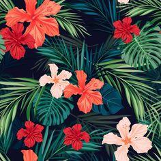 seamless hawaiian pattern wallpaper: Summer colorful hawaiian seamless pattern with tropical plants and hibiscus flowers, vector illustration Peel Off Wallpaper, Washable Wallpaper, Stick On Wallpaper, Chevron Wallpaper, Plant Wallpaper, Baby Wallpaper, Glitter Wallpaper, Flower Wallpaper, Pattern Wallpaper