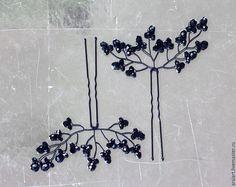 Заколки ручной работы. Ярмарка Мастеров - ручная работа. Купить Плетеные шпильки для волос, Черные шпильки,Украшение для свадьбы. Handmade.