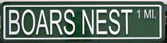 Dukes of Hazzard BOARS NEST STREET SIGN by Motown Automotive Design. $12.95. Made from a 24 inch long X 6 inch tall metal sign blank they are the same size as an actual STREET SIGN 7 year high quality vinyl is used for the lettering & border. Just like the real signs these babies are MADE TO LAST They would look great in the garage or shop or display them with your ride.