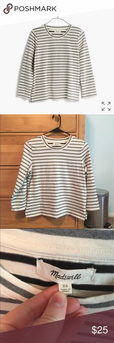 Madewell three-quarter Tee PRODUCT DETAILS An easy just-a-touch-boxy tee with marled yarn-dyed stripes—roll up the three-quarter sleeves for a pop of contrast. Has been worn 2 times and is in perfect condition.   Boxy fit. Cotton. Item G1949. Madewell Tops