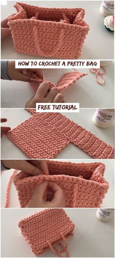 How To Crochet A Pretty Bag Easy Tutorial How To Crochet A Pretty Bag Easy Tutorial,Taschen & Körbe & Organizer How To Crochet A Pretty Bag Free Video Tutorial bags purses crafts stitches patterns stitch crochet crafts Bag Crochet, Crochet Handbags, Crochet Purses, Crochet Gifts, Crochet Stitches, Learn Crochet, Crochet Clutch, Crochet Food, Crochet Pillow
