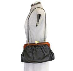 60s black purse.  Bakelite  frame purse. Vintage by ChickClassique, $32.00