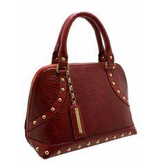 Bolsa Handbag Donna Guerriera em Couro Estampa Phyton Vermelho com detalhes em couro vermelho liso. Taxas e metais dourados. Alça de mão em ...