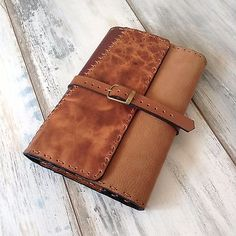 Genuine Leather Book Cover Handmade Patchwork Refillable Notebook Journal Case