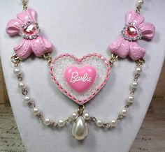 GLAM BARBIE rhinestone bling sparkle Statement necklace pinup pin up girl girly cotton candy pink heart logo gold pearl beaded chain crystal...