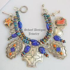 Gem Silica Lapis Orange Spiny Southwestern Charm Bracelet   Schaef Designs Southwestern Charm Bracelet   New Mexico
