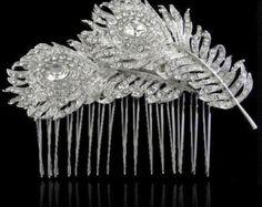 Bijou de cheveux peigne vintage de mariée mariage strass plumes