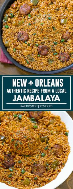 Jambalaya - Classic Creole Jambalaya recipe with chicken and andouille cajun sausage from a New Orleans, Louisiana local. A flavorful tomato rice dish with local French Quarter taste. Jambalaya I creole recipes I cajun recipes I southern cooking Louisiana Recipes, Cajun Recipes, Southern Recipes, Chicken Recipes, Cajun And Creole Recipes, Haitian Recipes, Rice Recipes, Creole Jambalaya Recipe, Homemade Jambalaya