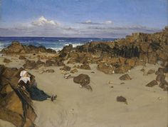 James Abbott McNeill Whistler (American Impressionist painter, 1834–1903) Coast of Brittany (Alone with the Tide), 1861. Oil on canvas, 34 3/8 x 45 1/2 in (87.3 x 115.6 cm). Wadsworth Atheneum, Hartford, Connecticut.