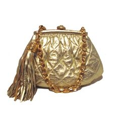 Chanel Vintage Gold Quilted Leather Mini Tassel Evening Bag
