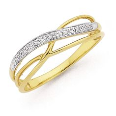 9ct Gold Diamond Multi Crossover Ring