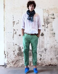 White Shirt With Mint Chinos Combination For Casual Look