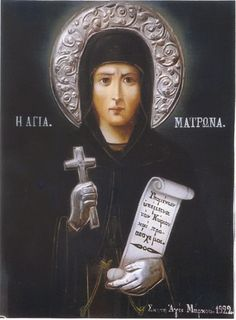 Martyr Matrona of Thessalonica was a slave of the Jewish woman Pautila (or Pantilla), wife of one of the military commanders of Thessalonica. Pautila constantly mocked her slave for her faith in Christ...  Pautila went into a three rages to mercilessly beat up and torture Matrona in locked her in a closet without food and water. The saint was recovered by the power of God. The third time, Pautila flogged the holy martyr and left the skin hanging in strips from her body & gave her spirit to… Catholic Saints, Orthodox Icons, Faith, Third, Christ, Spirit, Military, God, Woman