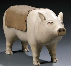 Folk Carved and Painted Pig Sculpture, Syracuse, New York, c. 1880.