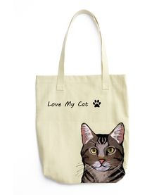 Canvas Shopping Tote Bag Cat with Blue Bow Vintage Look Pets Cat Beach Bags for Women Cats Gifts