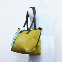 Large tote bag, Faux leather yellow shoulder bag, Structured tote, carry all, travel bag, school bag, everyday bag, laptop bag by bennaandhanna on Etsy