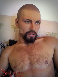 Gabriel, a life-size silicone male doll with individually hand-punched facial and body hair. Made by Sinthetics.