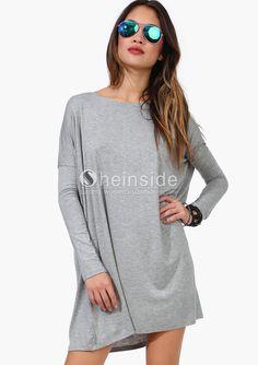 Grey Long Sleeve Batwing Simple Dress - Sheinside.com