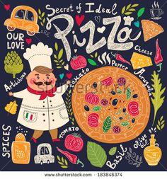 Pizza design menu with chef by Molesko Studio, via Shutterstock