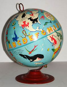 Dave Gerard (artist) George F. Cram Co. (publisher) Toy Globe Indianapolis: c. (Photograph and information from antiquarian/antiques specialists George Glazer Gallery. Also, it is SOLD. Old Globe, Globe Art, Vintage Globe, Vintage Maps, Interactive Globe, World Globe Map, Spinning Globe, Desk Globe, Floating Globe