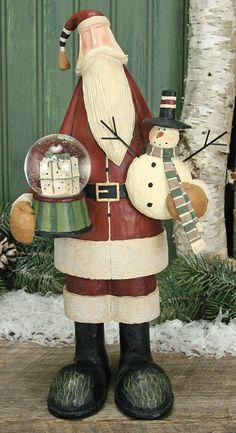 Santa Holding A Snowman & Snow Globe Figurine – Christmas Folk Art & Holiday Collectibles – Williraye Studio $45.00