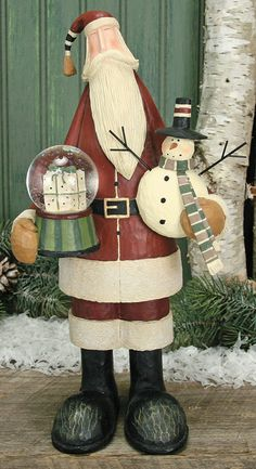 Santa Holding A Snowman & Snow Globe Figurine – Christmas Folk Art & Holiday Collectibles – Williraye Studio