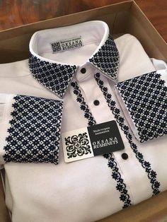 чоловіча сорочка з сокальськими мотивами Cross Stitch Designs, Cross Stitch Patterns, Diy Clothes And Shoes, Gents Fashion, Crochet Tunic, African Men Fashion, Embroidered Clothes, Fabric Beads, Dress Tutorials